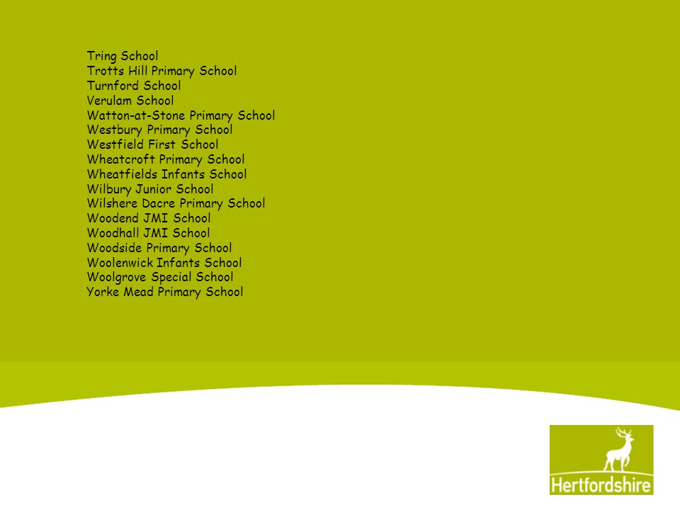 Accredited Schools Bedmond Village Primary Bishop's Hatfield Girls Flamstead End Infants Goldfield Infants Greenfields JMI Greenway First Greneway Middle Highwood Primary Homerswood Primary Kings Langley School Lakeside School Longdean School Oughton Primary Samuel Lucas Primary St John's JMI, Lemsford St Luke's School St Michael's Woolmer Green Primary The Links ESC The Ryde School Weston Primary Wheatfields Junior Woodlands Primary
