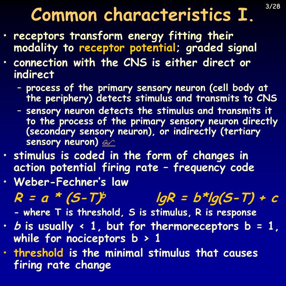 Common characteristics II.