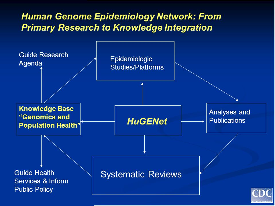 Epidemiologic Studies/Platforms Human Genome Epidemiology Network: From Primary Research to Knowledge Integration Analyses and Publications Systematic Reviews Knowledge Base Genomics and Population Health HuGENet Guide Health Services & Inform Public Policy Guide Research Agenda