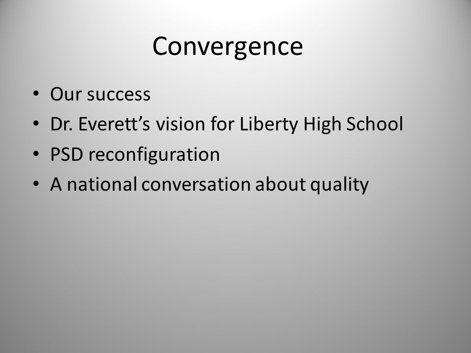 Convergence Our success Dr.