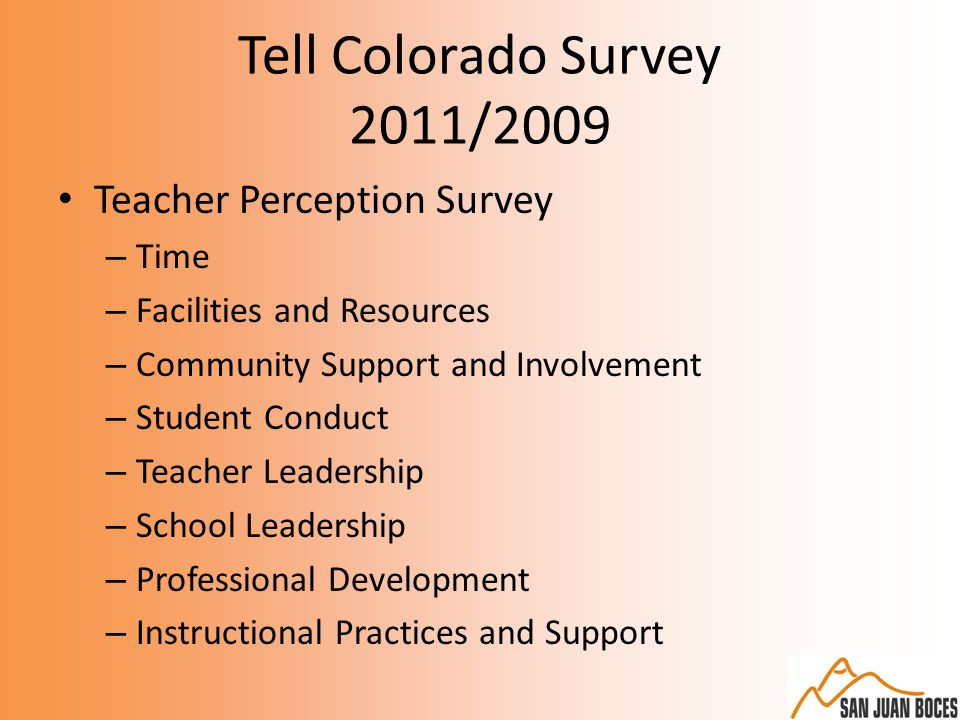 Tell Colorado Survey 2011/2009 Teacher Perception Survey – Time – Facilities and Resources – Community Support and Involvement – Student Conduct – Teacher Leadership – School Leadership – Professional Development – Instructional Practices and Support