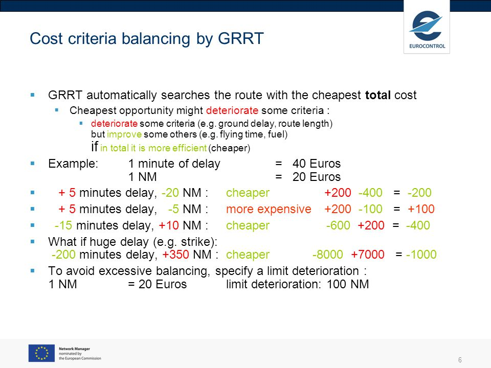 6 Cost criteria balancing by GRRT  GRRT automatically searches the route with the cheapest total cost  Cheapest opportunity might deteriorate some criteria :  deteriorate some criteria (e.g.