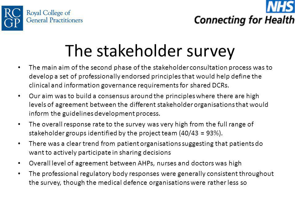 The stakeholder survey The main aim of the second phase of the stakeholder consultation process was to develop a set of professionally endorsed principles that would help define the clinical and information governance requirements for shared DCRs.