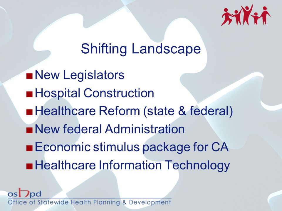Shifting Landscape New Legislators Hospital Construction Healthcare Reform (state & federal) New federal Administration Economic stimulus package for CA Healthcare Information Technology