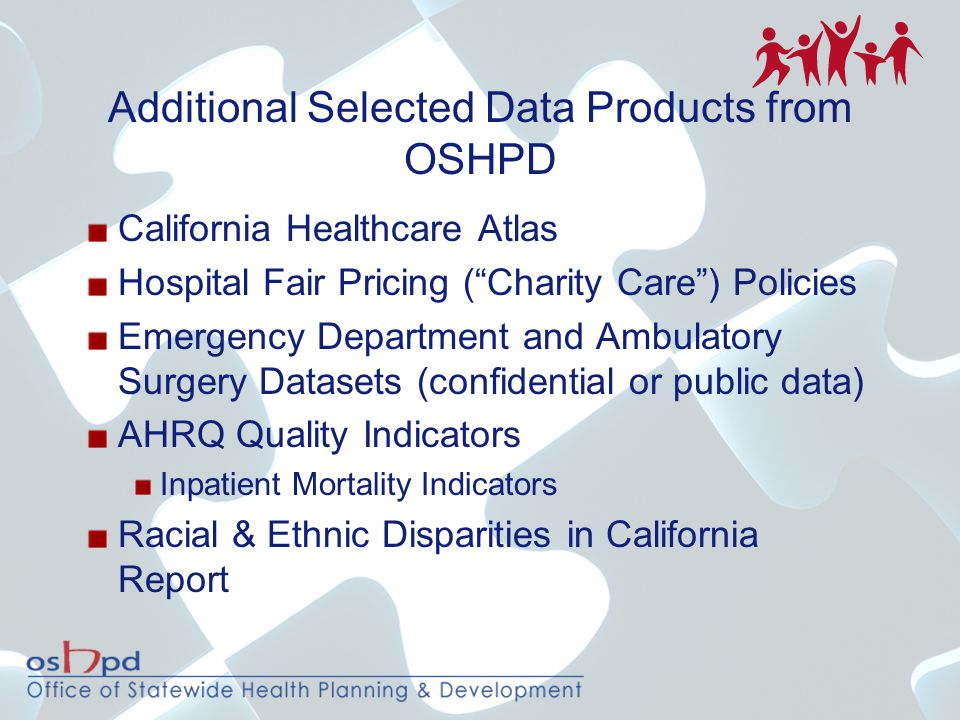 "Additional Selected Data Products from OSHPD California Healthcare Atlas Hospital Fair Pricing (""Charity Care"") Policies Emergency Department and Ambu"