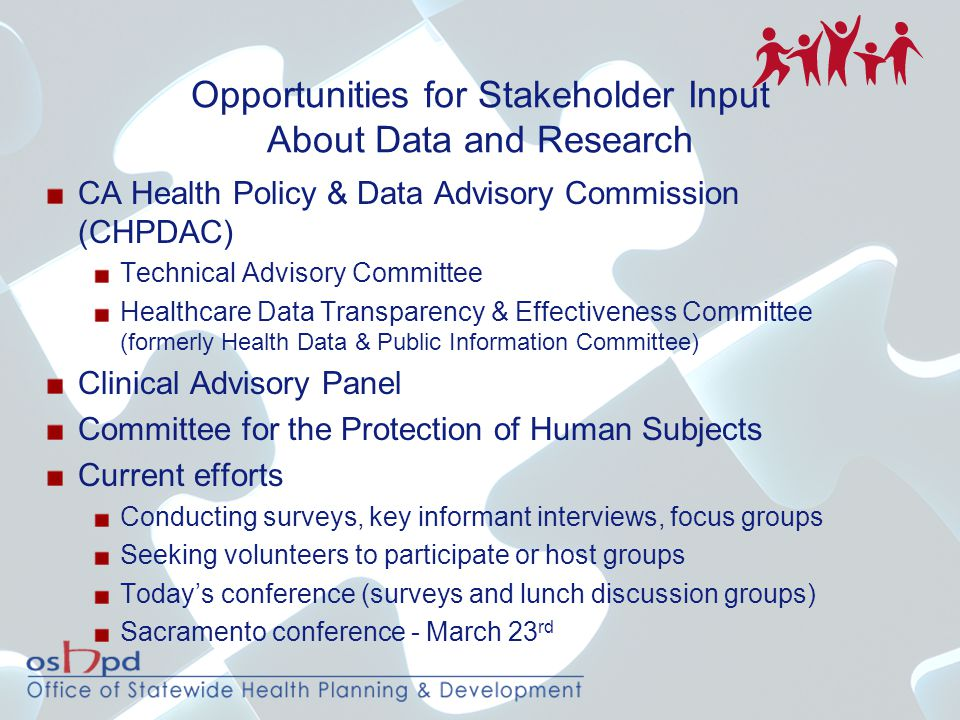 Opportunities for Stakeholder Input About Data and Research CA Health Policy & Data Advisory Commission (CHPDAC) Technical Advisory Committee Healthca