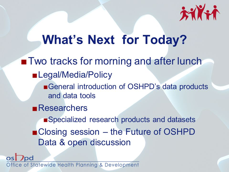 What's Next for Today? Two tracks for morning and after lunch Legal/Media/Policy General introduction of OSHPD's data products and data tools Research