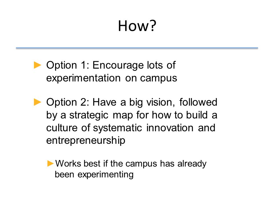 Build and sustain a culture of systematic innovation and entrepreneurship Strategic Development