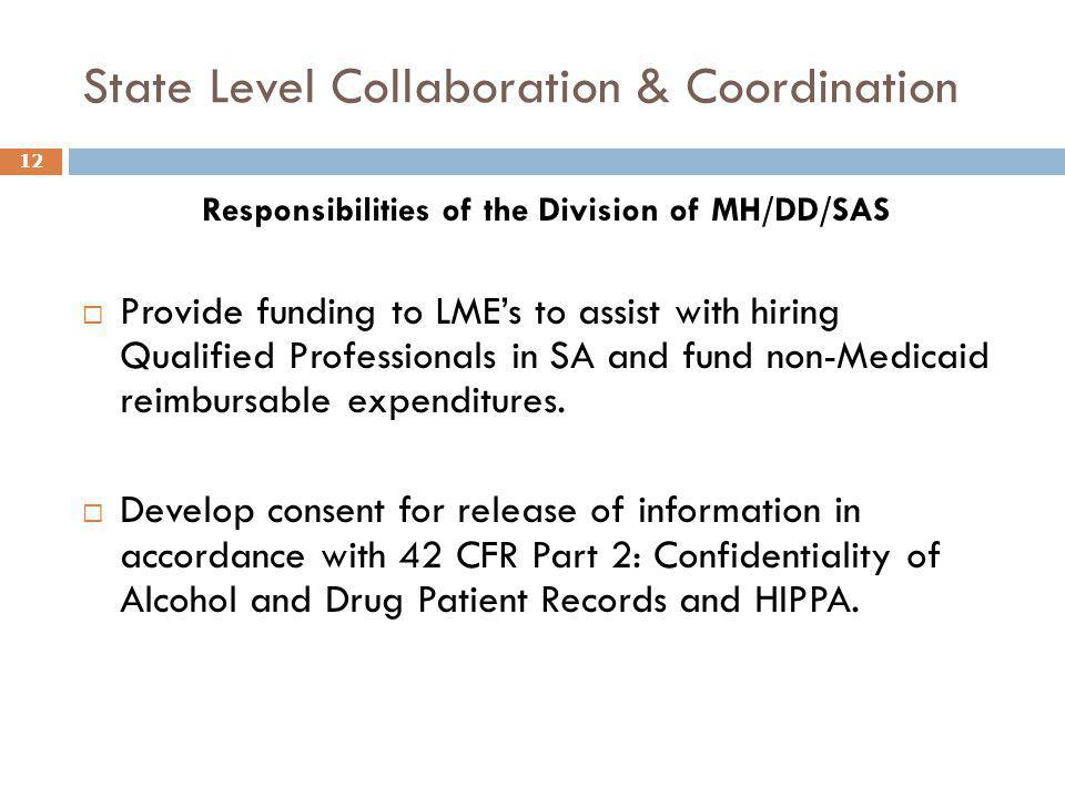 State Level Collaboration & Coordination Responsibilities of the Division of MH/DD/SAS  Provide funding to LME's to assist with hiring Qualified Prof