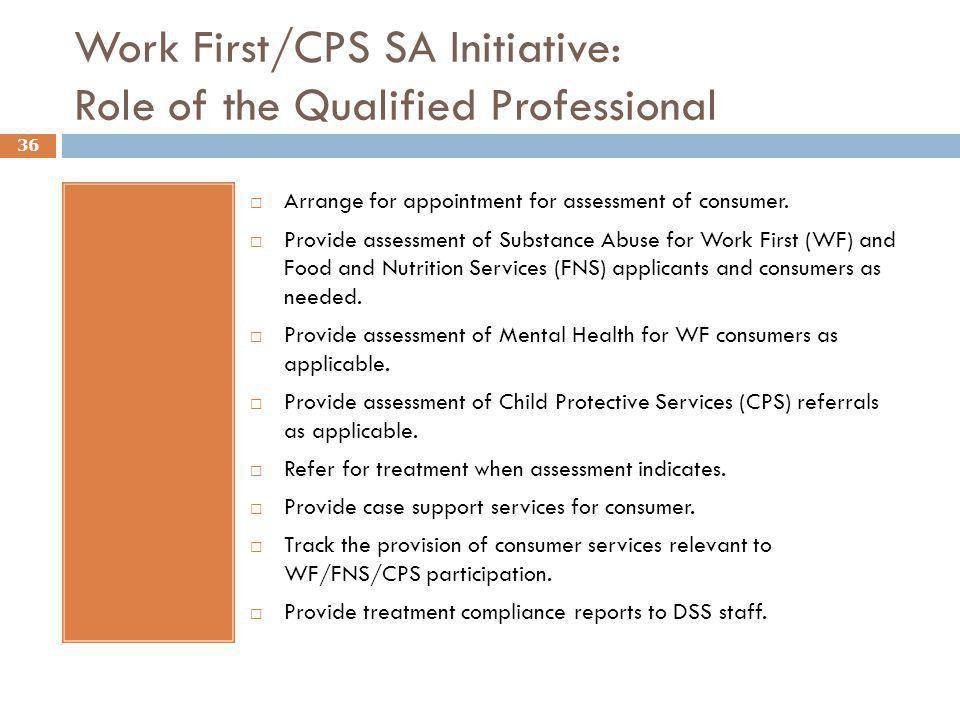 Work First/CPS SA Initiative: Role of the Qualified Professional.  Arrange for appointment for assessment of consumer.  Provide assessment of Substa
