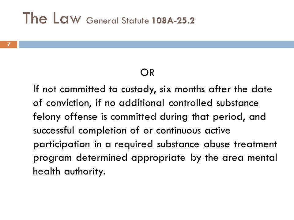 The Law General Statute 108A-25.2 OR If not committed to custody, six months after the date of conviction, if no additional controlled substance felon