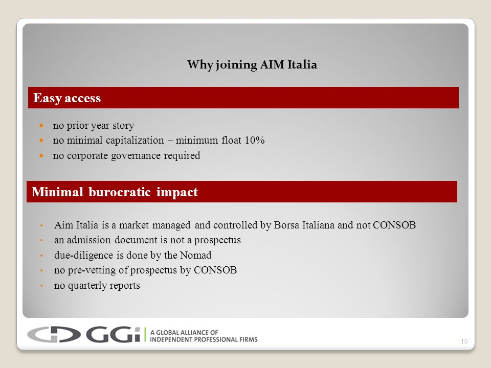 Why joining AIM Italia no prior year story no minimal capitalization – minimum float 10% no corporate governance required 10 Easy access Minimal burocratic impact Aim Italia is a market managed and controlled by Borsa Italiana and not CONSOB an admission document is not a prospectus due-diligence is done by the Nomad no pre-vetting of prospectus by CONSOB no quarterly reports