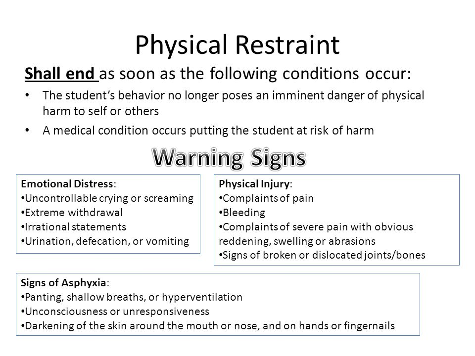 Physical Restraint Shall end as soon as the following conditions occur: The student's behavior no longer poses an imminent danger of physical harm to self or others A medical condition occurs putting the student at risk of harm Emotional Distress: Uncontrollable crying or screaming Extreme withdrawal Irrational statements Urination, defecation, or vomiting Physical Injury: Complaints of pain Bleeding Complaints of severe pain with obvious reddening, swelling or abrasions Signs of broken or dislocated joints/bones Signs of Asphyxia: Panting, shallow breaths, or hyperventilation Unconsciousness or unresponsiveness Darkening of the skin around the mouth or nose, and on hands or fingernails