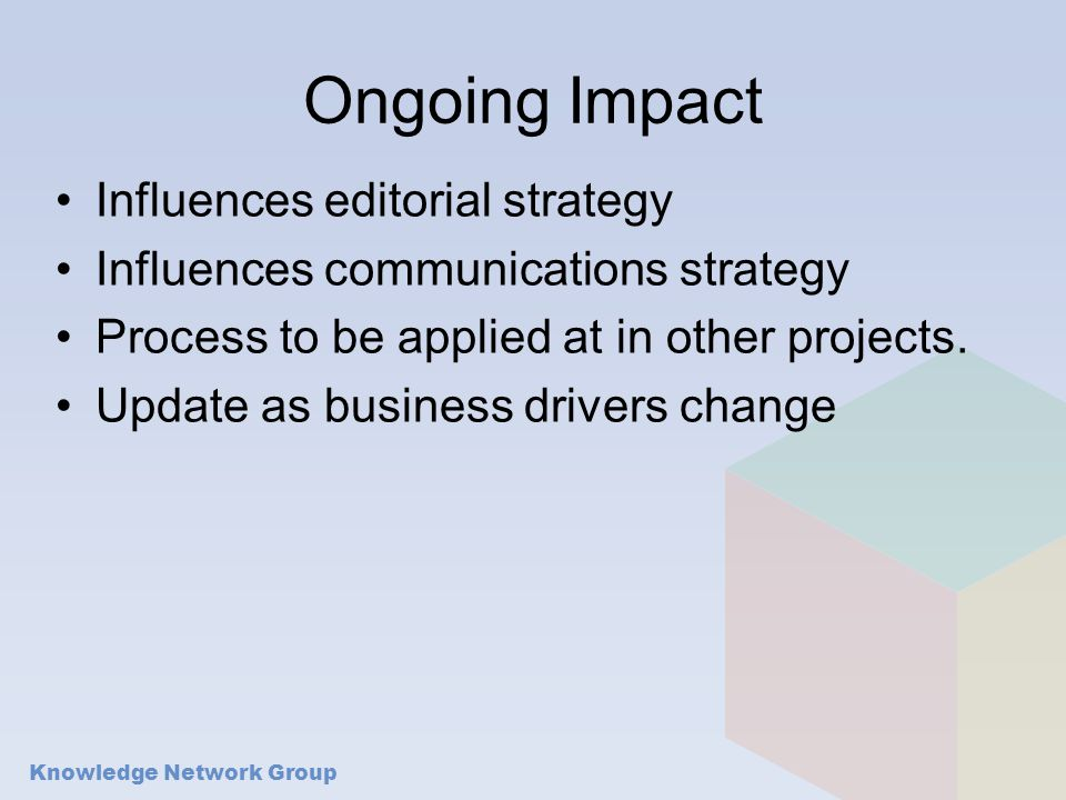 Ongoing Impact Influences editorial strategy Influences communications strategy Process to be applied at in other projects.