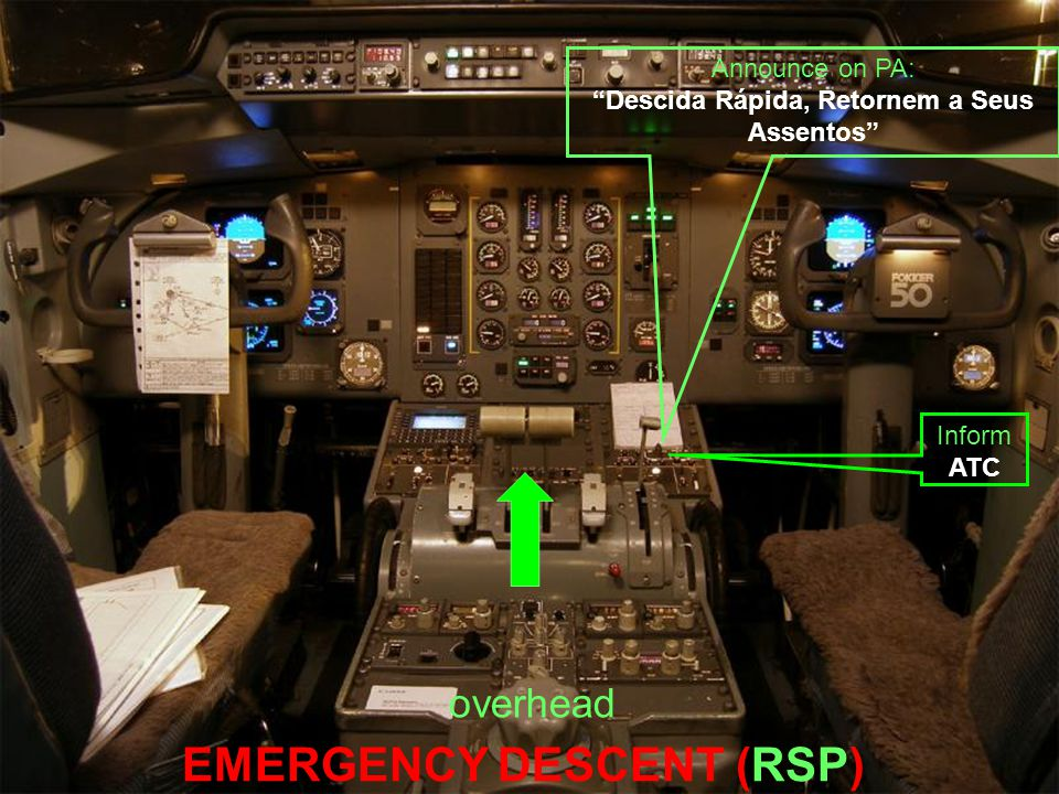 "EMERGENCY DESCENT (RSP) Inform ATC Announce on PA: ""Descida Rápida, Retornem a Seus Assentos"" overhead"