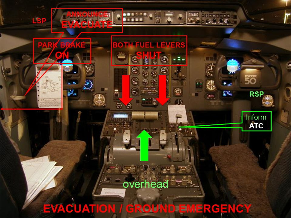 EVACUATION / GROUND EMERGENCY BOTH FUEL LEVERS SHUT PARK BRAKE ON overhead Inform ATC RSP ANNOUNCE EVACUATE LSP
