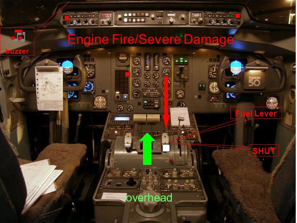Engine Fire/Severe Damage Fuel Lever SHUT buzzer overhead