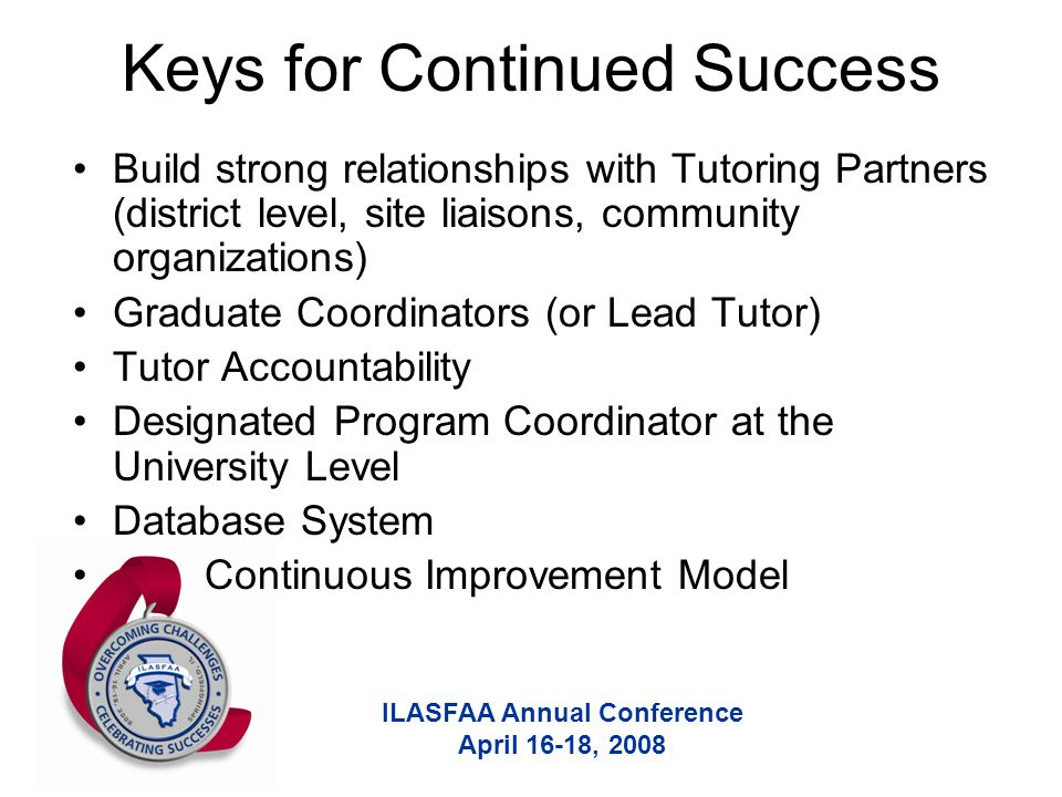 ILASFAA Annual Conference April 16-18, 2008 Keys for Continued Success Build strong relationships with Tutoring Partners (district level, site liaisons, community organizations) Graduate Coordinators (or Lead Tutor) Tutor Accountability Designated Program Coordinator at the University Level Database System Continuous Improvement Model