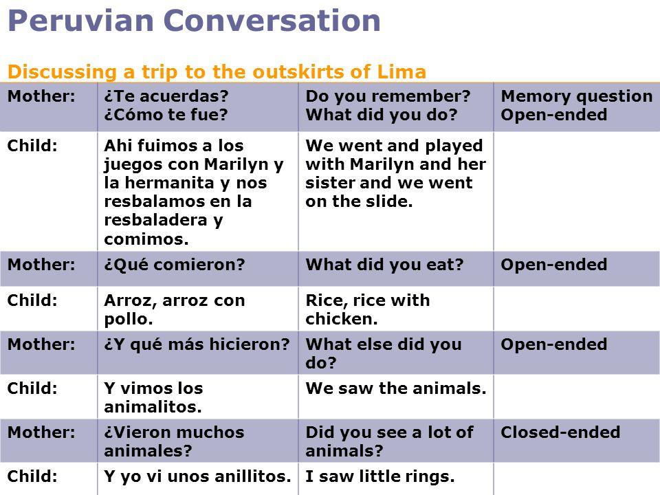 Peruvian Conversation Mother:¿Te acuerdas? ¿Cómo te fue? Do you remember? What did you do? Memory question Open-ended Child:Ahi fuimos a los juegos co