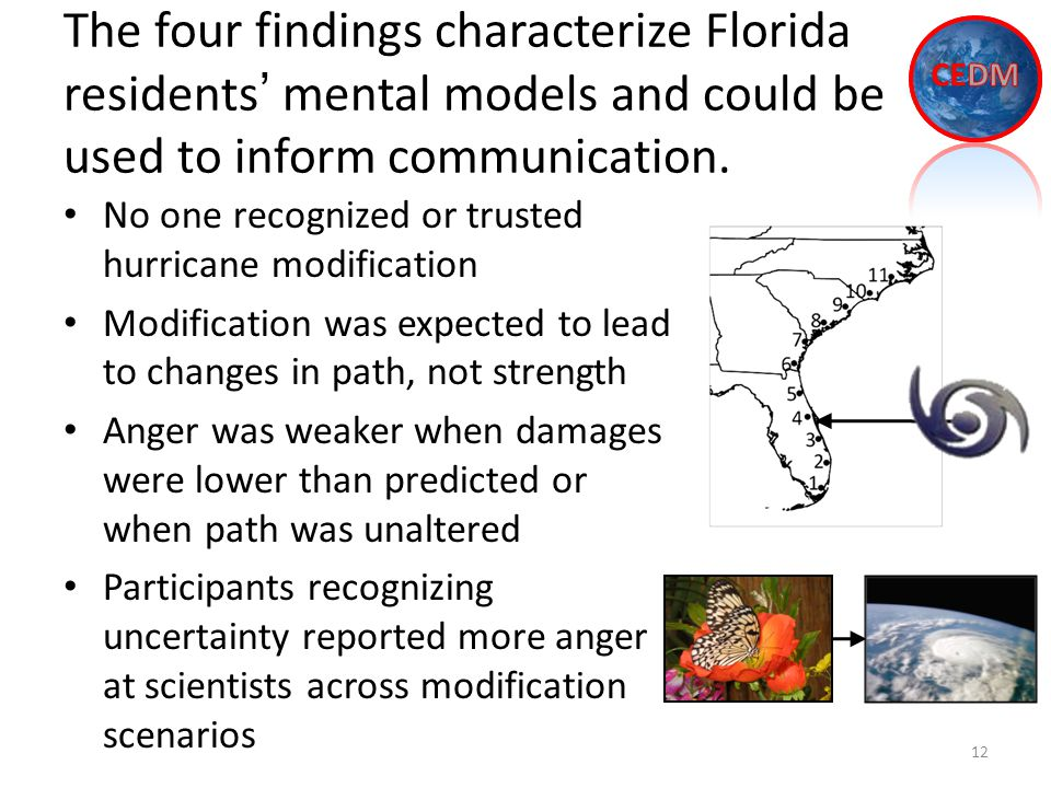 The four findings characterize Florida residents' mental models and could be used to inform communication.