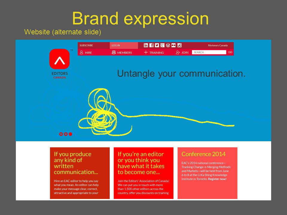 Brand expression Website (alternate slide) Untangle your communication.