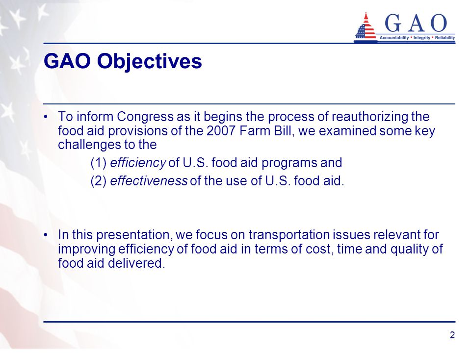 3 GAO Methodology Our transportation-related findings are based on: Analysis of KCCO commodity and ocean transportation procurement data Structured interviews with the 14 U.S.- and foreign-flag ocean carriers that transport over 80 percent of U.S.
