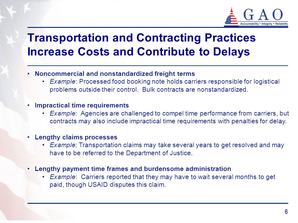 7 Carriers' Views on Costly Food Aid Transportation Practices and Recommended Improvements