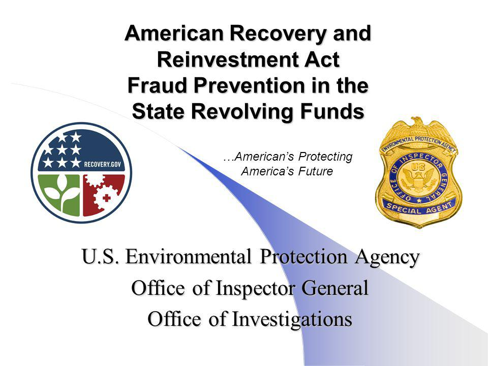 American Recovery and Reinvestment Act Fraud Prevention in the State Revolving Funds U.S.