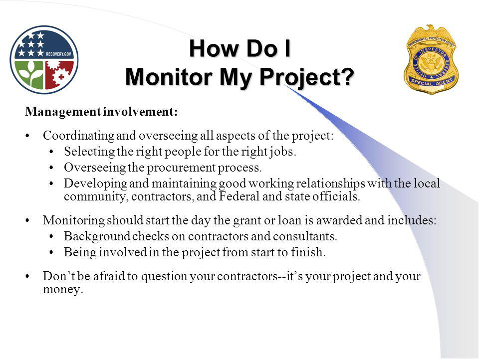How Do I Monitor My Project.