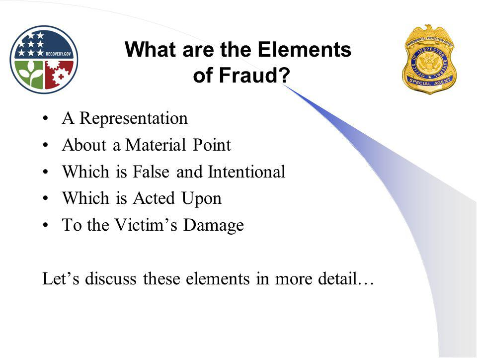 What are the Elements of Fraud.
