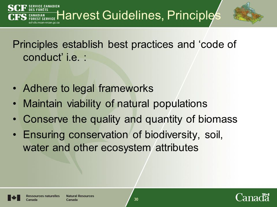 30 Harvest Guidelines, Principles Principles establish best practices and 'code of conduct' i.e.
