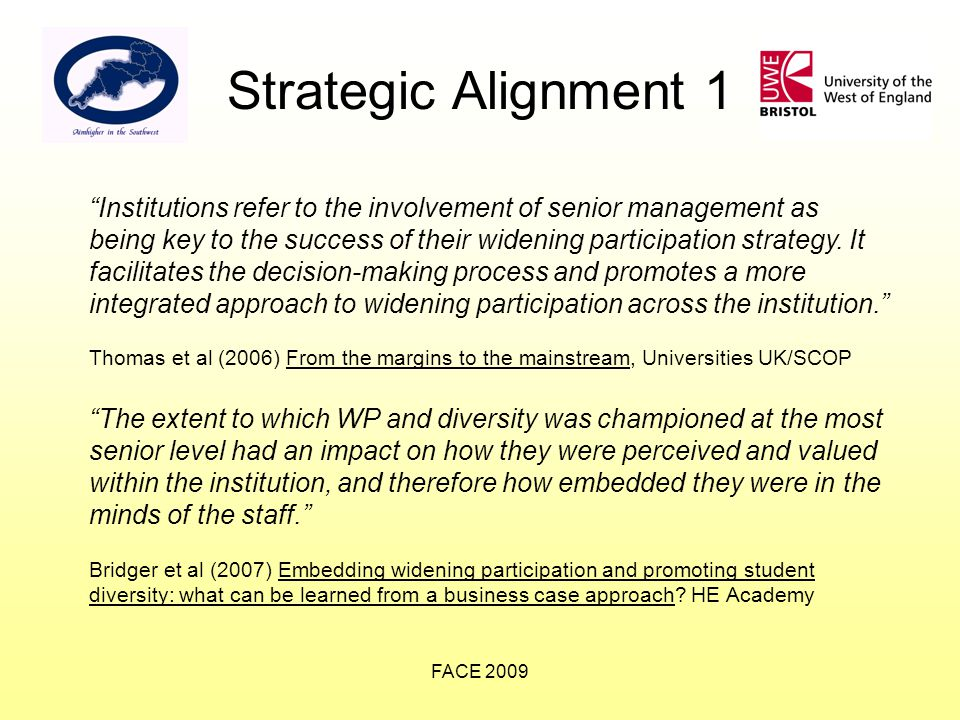 FACE 2009 Strategic Alignment 1 Institutions refer to the involvement of senior management as being key to the success of their widening participation strategy.