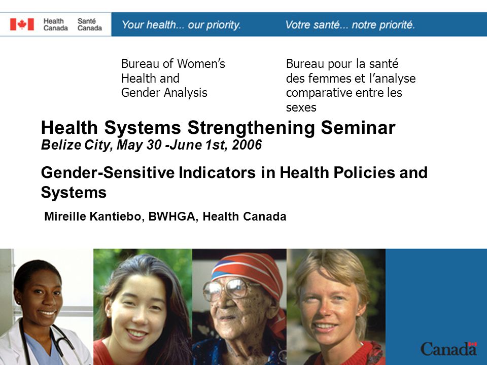 BWHGA BSFACS 2 OVERVIEW  Federal Commitments to Gender Equality  Health Indicators Framework  Health Canada's Women's Health Indicators Initiative  Reflections and learnings about gender-sensitive indicators in health policies and systems