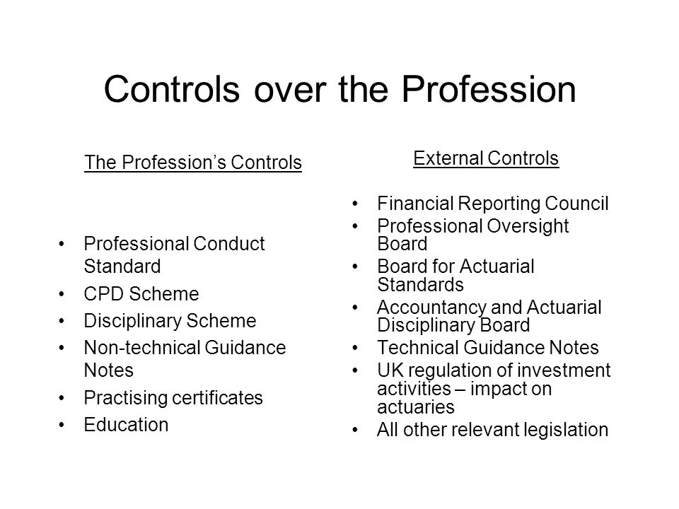 Controls over the Profession The Profession's Controls Professional Conduct Standard CPD Scheme Disciplinary Scheme Non-technical Guidance Notes Practising certificates Education External Controls Financial Reporting Council Professional Oversight Board Board for Actuarial Standards Accountancy and Actuarial Disciplinary Board Technical Guidance Notes UK regulation of investment activities – impact on actuaries All other relevant legislation