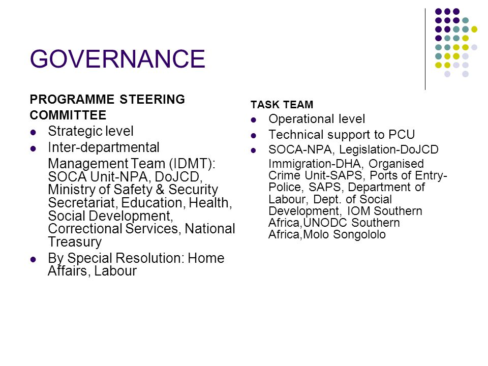 GOVERNANCE PROGRAMME STEERING COMMITTEE Strategic level Inter-departmental Management Team (IDMT): SOCA Unit-NPA, DoJCD, Ministry of Safety & Security Secretariat, Education, Health, Social Development, Correctional Services, National Treasury By Special Resolution: Home Affairs, Labour TASK TEAM Operational level Technical support to PCU SOCA-NPA, Legislation-DoJCD Immigration-DHA, Organised Crime Unit-SAPS, Ports of Entry- Police, SAPS, Department of Labour, Dept.