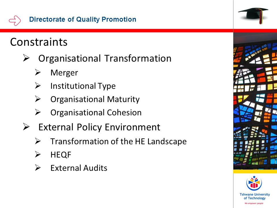 Directorate of Quality Promotion Constraints  Organisational Transformation  Merger  Institutional Type  Organisational Maturity  Organisational