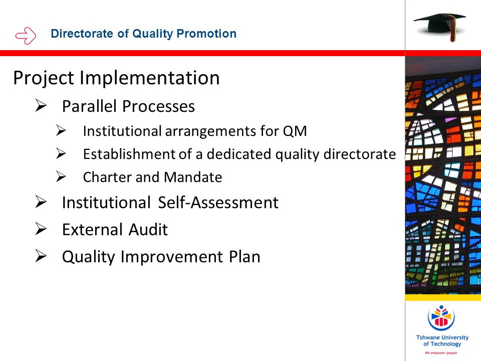 Directorate of Quality Promotion Project Implementation  Parallel Processes  Institutional arrangements for QM  Establishment of a dedicated quality directorate  Charter and Mandate  Institutional Self-Assessment  External Audit  Quality Improvement Plan