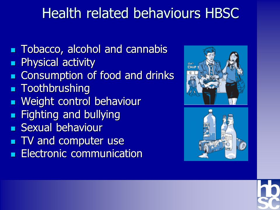 Health Behaviour in School-aged Children: WHO collaborative cross-national study www.hbsc.org Health related behaviours HBSC Tobacco, alcohol and cannabis Tobacco, alcohol and cannabis Physical activity Physical activity Consumption of food and drinks Consumption of food and drinks Toothbrushing Toothbrushing Weight control behaviour Weight control behaviour Fighting and bullying Fighting and bullying Sexual behaviour Sexual behaviour TV and computer use TV and computer use Electronic communication Electronic communication