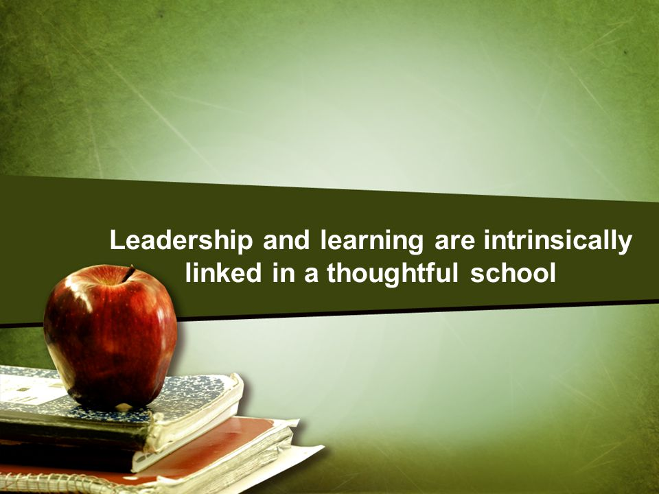 The goal of thoughtful leadership is continuously come up with new and better ideas that can be shown to produce better results Leadership in a thoughtful school looks and feels much different from leadership in traditional schools.