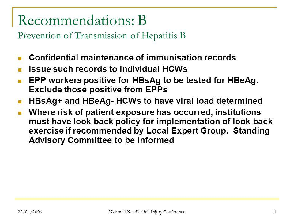 22/04/2006 National Needlestick Injury Conference 11 Recommendations: B Prevention of Transmission of Hepatitis B Confidential maintenance of immunisation records Issue such records to individual HCWs EPP workers positive for HBsAg to be tested for HBeAg.