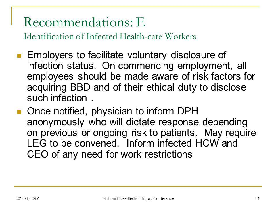 22/04/2006 National Needlestick Injury Conference 14 Recommendations: E Identification of Infected Health-care Workers Employers to facilitate voluntary disclosure of infection status.