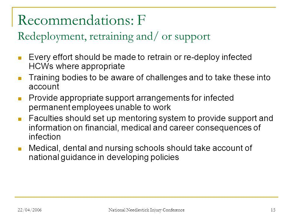 22/04/2006 National Needlestick Injury Conference 15 Recommendations: F Redeployment, retraining and/ or support Every effort should be made to retrain or re-deploy infected HCWs where appropriate Training bodies to be aware of challenges and to take these into account Provide appropriate support arrangements for infected permanent employees unable to work Faculties should set up mentoring system to provide support and information on financial, medical and career consequences of infection Medical, dental and nursing schools should take account of national guidance in developing policies