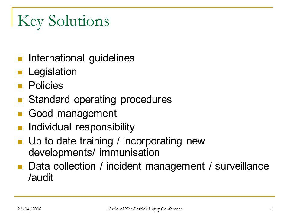 22/04/2006 National Needlestick Injury Conference 6 Key Solutions International guidelines Legislation Policies Standard operating procedures Good management Individual responsibility Up to date training / incorporating new developments/ immunisation Data collection / incident management / surveillance /audit