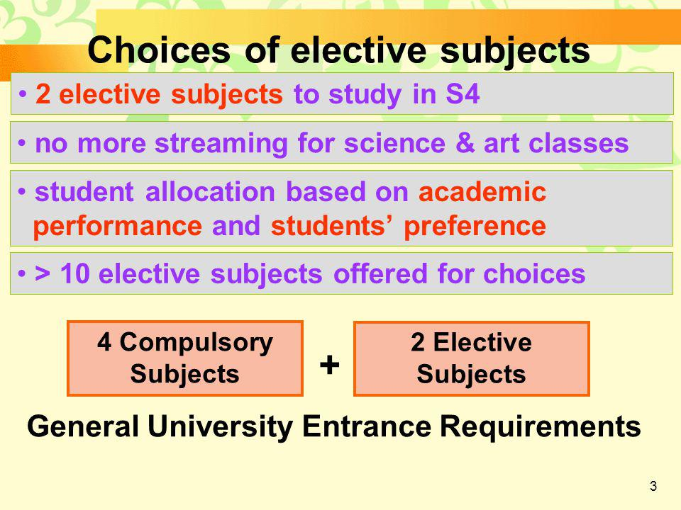 3 Choices of elective subjects 2 elective subjects to study in S4 no more streaming for science & art classes student allocation based on academic performance and students' preference > 10 elective subjects offered for choices 4 Compulsory Subjects 2 Elective Subjects + General University Entrance Requirements