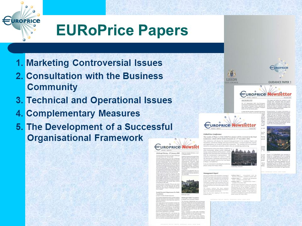 EURoPrice Papers 1. Marketing Controversial Issues 2.