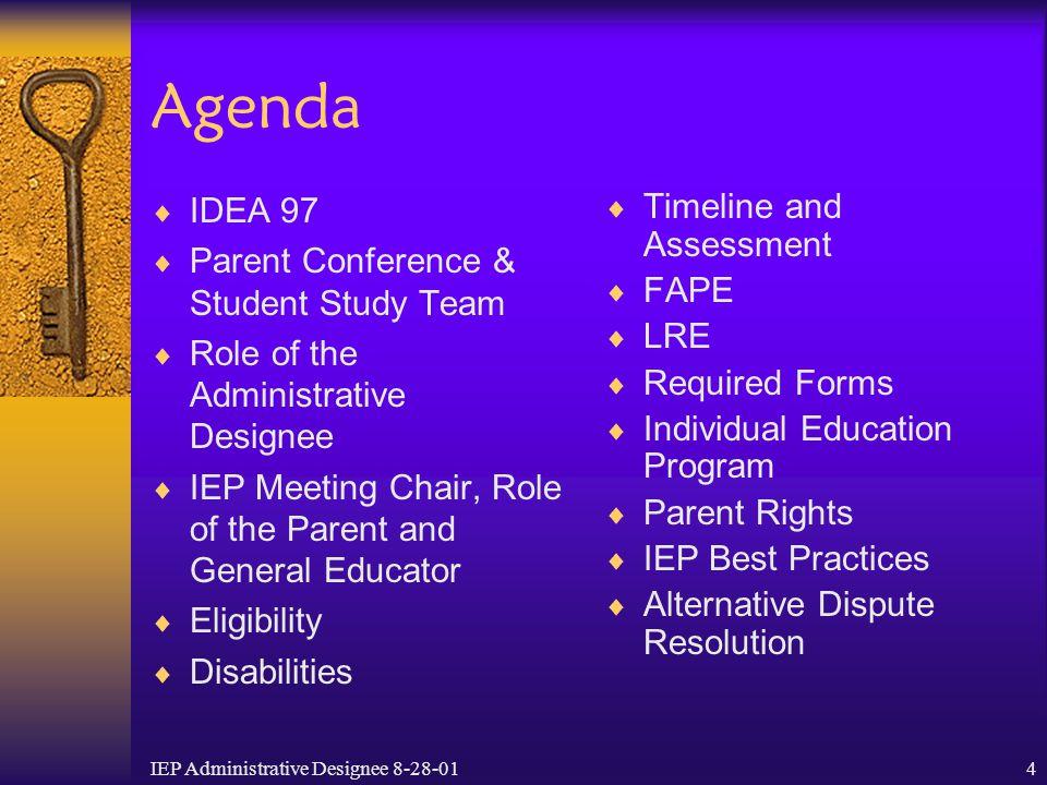 IEP Administrative Designee 8-28-014 Agenda  IDEA 97  Parent Conference & Student Study Team  Role of the Administrative Designee  IEP Meeting Cha