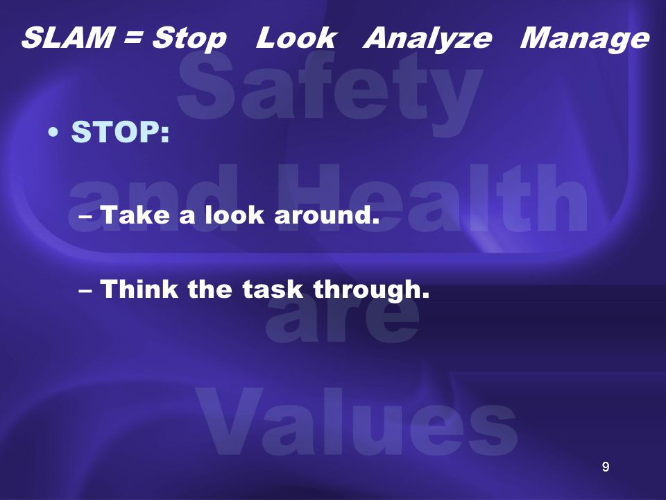 10 LOOK: –Identify the hazards for each job step. SLAM = Stop Look Analyze Manage