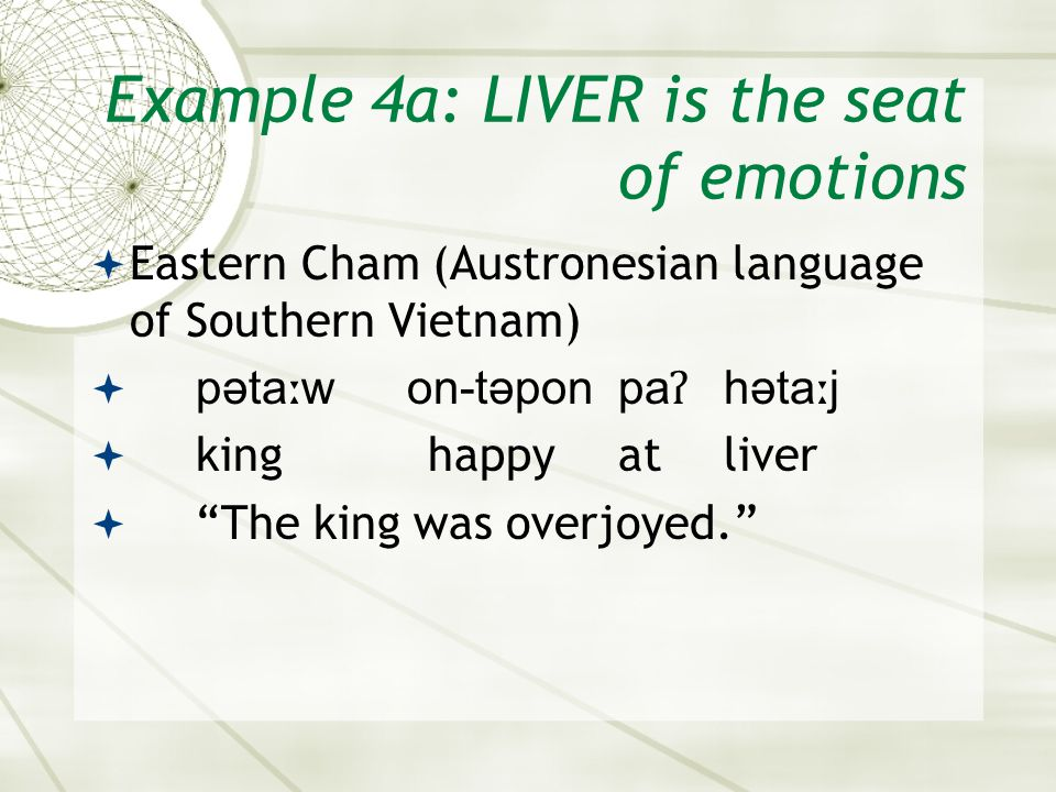 Example 4a: LIVER is the seat of emotions  Eastern Cham (Austronesian language of Southern Vietnam)  pəta ː won-təponpa ʔ həta ː j  king happyatliver  The king was overjoyed.