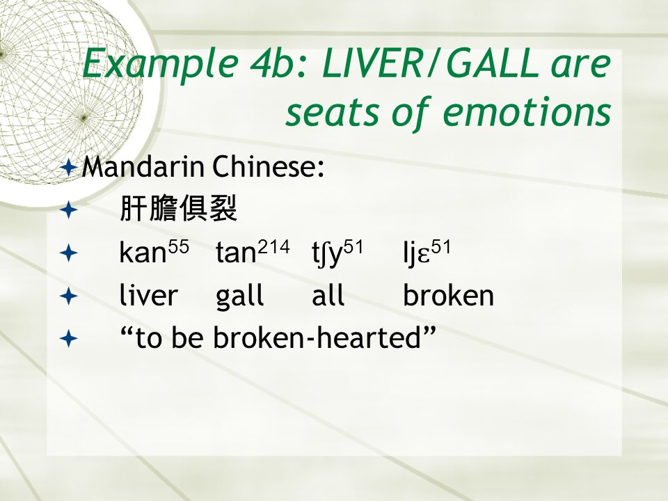 "Example 4b: LIVER/GALL are seats of emotions  Mandarin Chinese:  肝膽俱裂  kan 55 tan 214 t ʃ y 51 lj ɛ 51  livergallallbroken  ""to be broken-hearted"