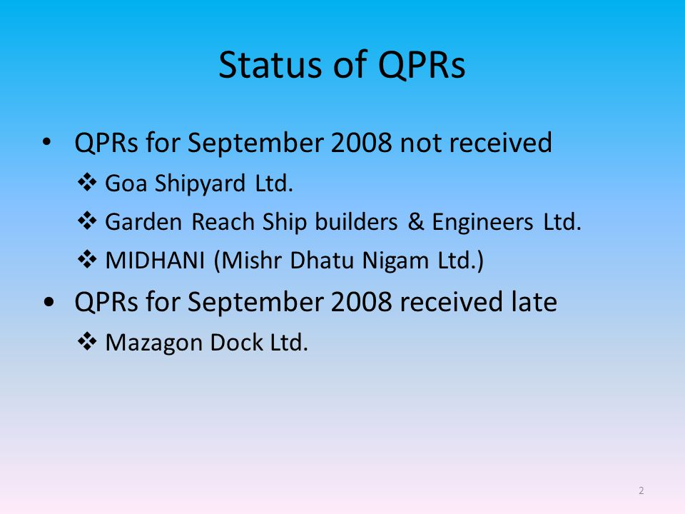 2 Status of QPRs QPRs for September 2008 not received  Goa Shipyard Ltd.